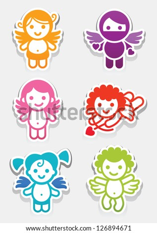 Colored stickers angel-set icons, collection symbols