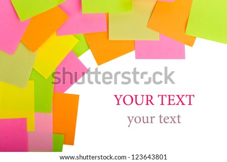 colored stickers on a black background - stock photo