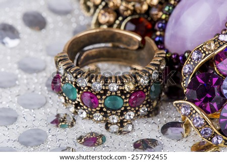 colored stone rings - stock photo