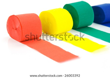 Colored streamers isolated against a white background