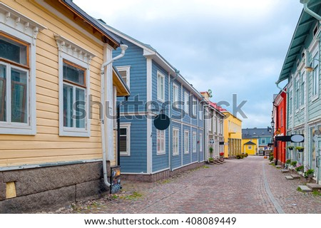 colored street in old town Porvoo, Finland - stock photo