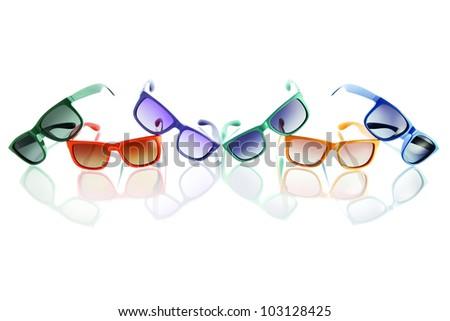colored sunglasses - stock photo