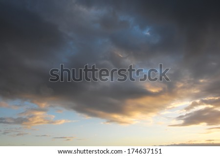 Colored Sunset Clouds Over the Atlantic Ocean in Tenerife South Spain