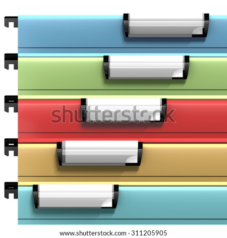Colored suspended files with copy space available on blank stamps. 3d render - stock photo