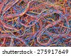 Colored telecommunication cables and wires - stock photo