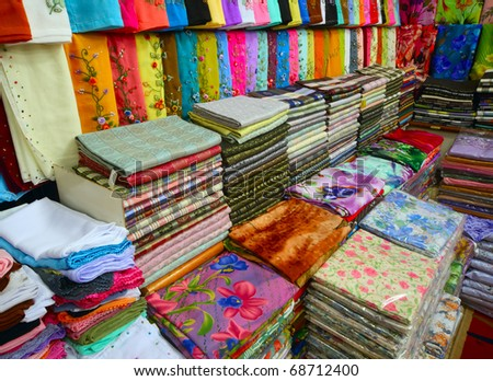 Colored textile in a traditional east market in Malaysia.