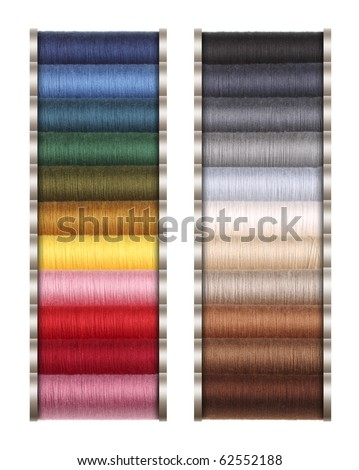 Colored threads for sewing machine, hand sewing, or repair of dresses. - stock photo