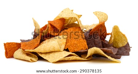 colored tortilla chips isolated on white  - stock photo