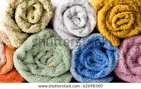 colored towels - stock photo