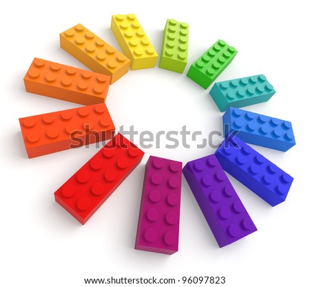 Colored toy bricks. See my portfolio for more similar images. - stock photo