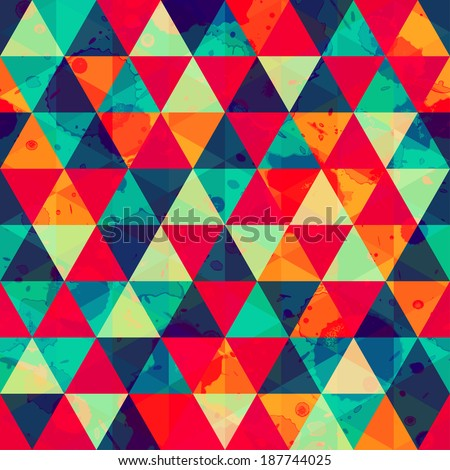 colored triangle seamless pattern with blot effect (raster version)