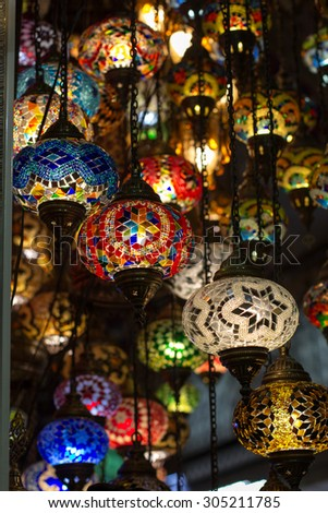 Colored turkish lamps hanging at the Grand Bazaar in Istanbul, Turkey - stock photo