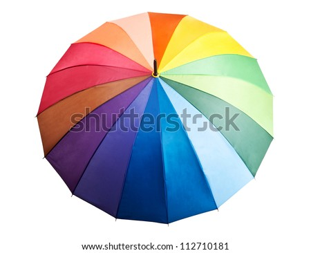 colored umbrella isolated on a white background - stock photo