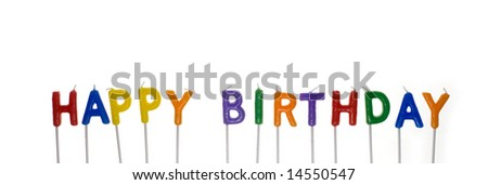 Colored unlit candles spelling Happy Birthday, isolated on white background - stock photo