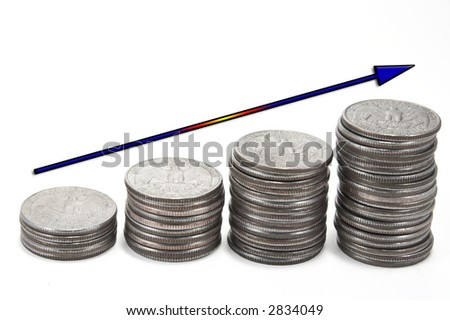 Colored up arrow over stacks of coins - stock photo
