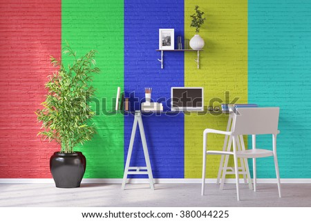 Colored wall in home office with desk and laptop computer (3D Rendering) - stock photo