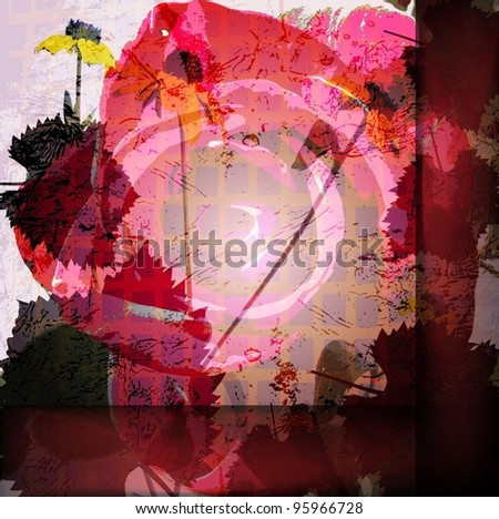 colored wallpaper with beautiful abstract red flowers