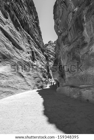 Colored walls in the canyon of the Sig (Kings Way) - narrow passage to ancient city Petra, Jordan (black and white) - stock photo