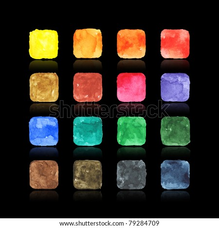 Colored watercolor blank web buttons with drop reflection on black background