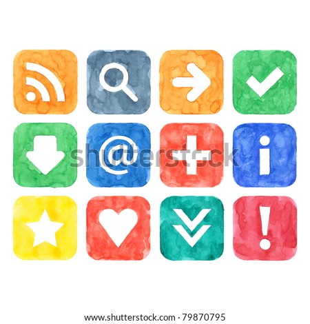 Colored watercolor handmade web 2.0 buttons set with popular internet sign on white background - stock photo