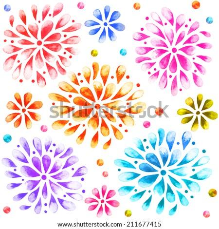Colored Watercolor  Sunburst Flowers. Seamless ornament. - stock photo