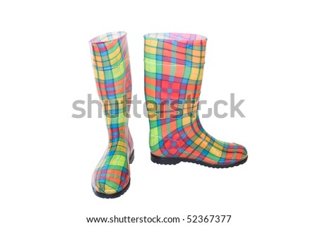colored waterproof boots  (gumboots) isolated on white