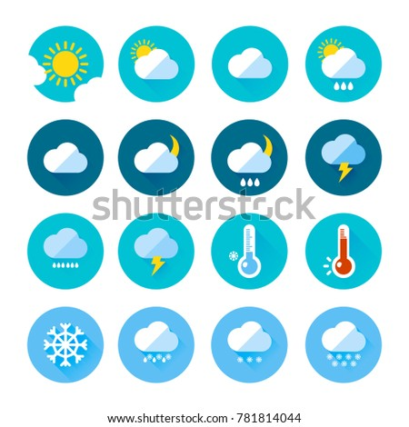 Colored Weather Icons Flat Style Different Stock Illustration