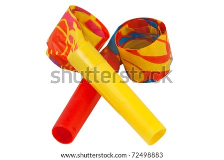 Colored whistles to make noise on carnival parties - stock photo