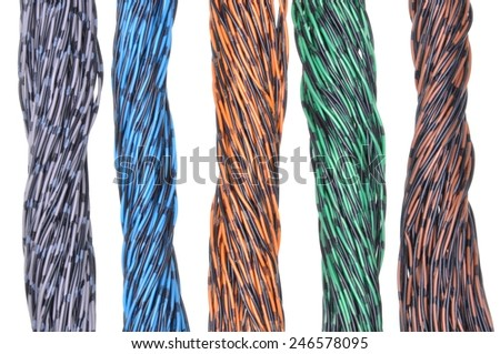 Colored wires of computer networks isolated on white background - stock photo