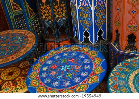 Colored wood moroccan table - stock photo
