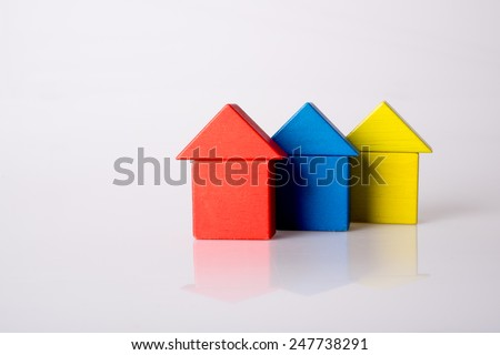Colored wooden blocks. Isolated on white background.