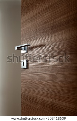 colored wooden door open, with the handle, on white background
