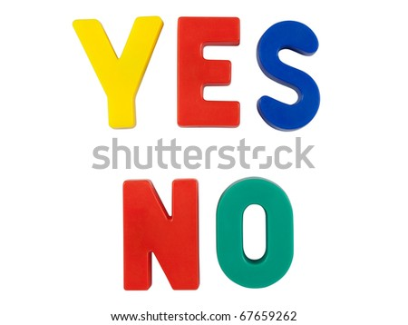 "Colored words ""YES"" and ""NO"". Isolated on white background with clipping path. - stock photo"