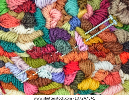 Colored Yarns and Pair Needles - stock photo