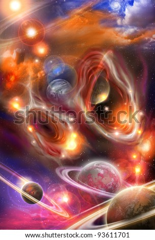 colored yellow and red nebulae and planets in the futuristic space - stock photo