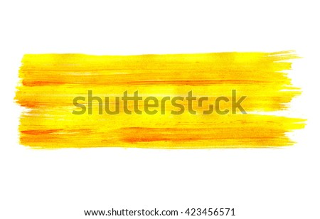 Colorful abstract acrylic hand painted brush strokes yellow background
