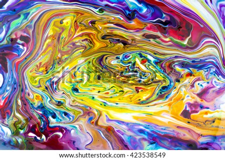 Colorful abstract acrylic painting. Natural dynamic mixture of oil colored pigments fluid flow background. - stock photo
