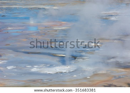 Colorful abstract and close up of the colorful Porcelain Basin in Norris Geyser Basin, Yellowstone National Park. - stock photo