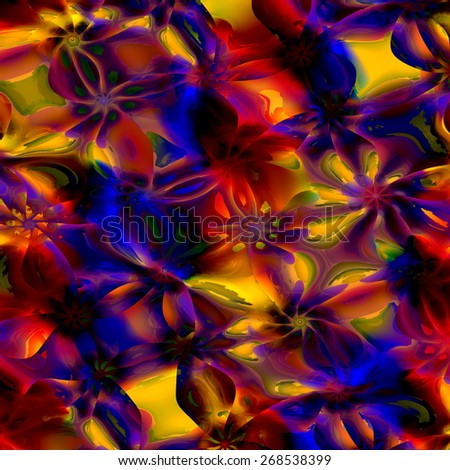 Colorful Abstract Art Background. Computer Generated Floral Fractal Pattern. Digital Design Illustration. Creative Colored Fantasy Image. Psychedelic Flower Texture. Stylish Decorative Effect. Swirls. - stock photo