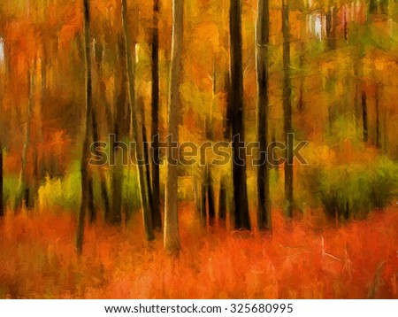 Colorful abstract autumn woods transformed into a vibrant painting - stock photo