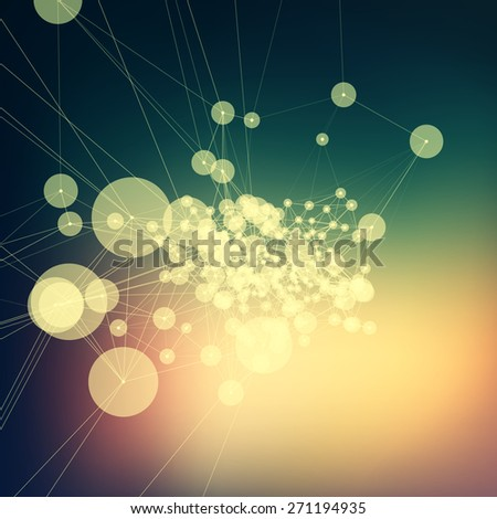 Colorful abstract background gradient. Connecting dots with lines