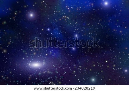 Colorful abstract background of deep space with nebula and stars - stock photo
