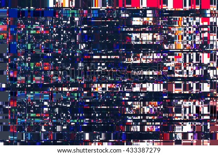 colorful abstract background texture. glitches, distortion on the screen broadcast digital TV satellite channels - stock photo