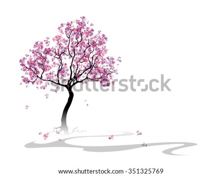 Colorful abstract blooming tree. Template with place for inscription. Spring background. Watercolor imitation. Rasterized version - stock photo