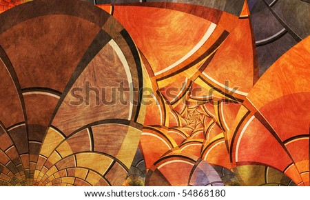 Colorful Abstract Bricks and Spiral - stock photo