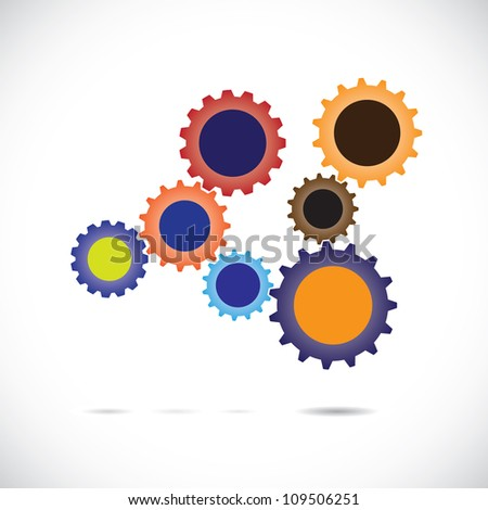 Colorful abstract cogwheels in controlled rotating motion implying balanced & synchronous system. Each cog wheel complements the cogwheels it is associated with & works as a team for overall balance. - stock photo