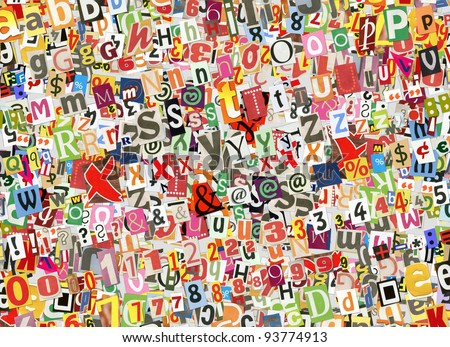 Colorful abstract collage background, made of digitally arranged newspapers and magazines letters handmade cutouts - stock photo