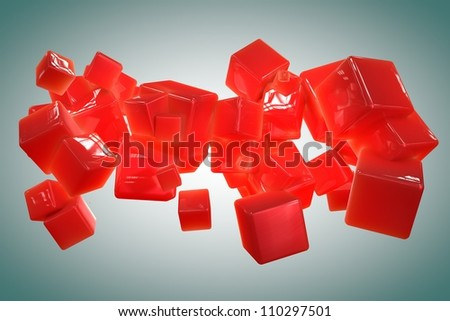 Colorful abstract cubes isolated on white bacground - stock photo