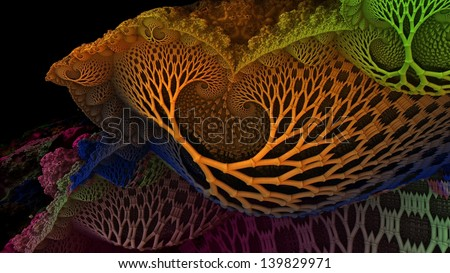 Colorful Abstract 3D Fractal Design - stock photo