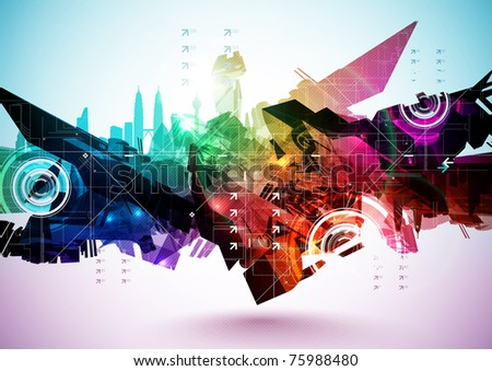 Colorful Abstract Digital Art - stock photo